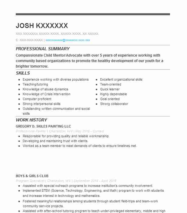 professional painter resume sample