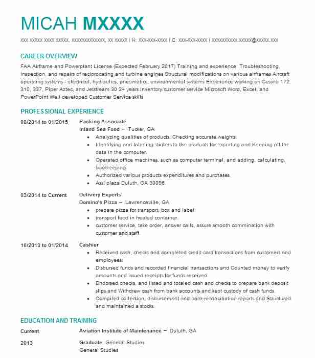 Packing Associate Resume Example Inland Sea Food Lawrenceville