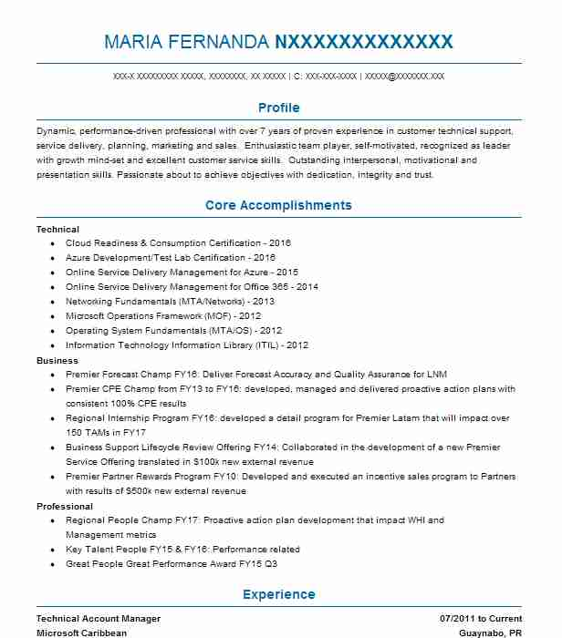 technical account manager resume example microsoft