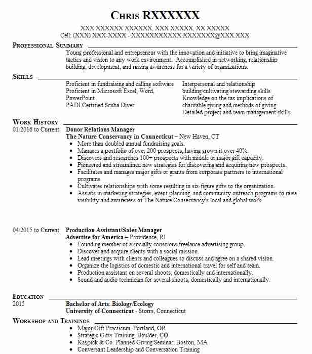 donor relations manager resume example university of miami