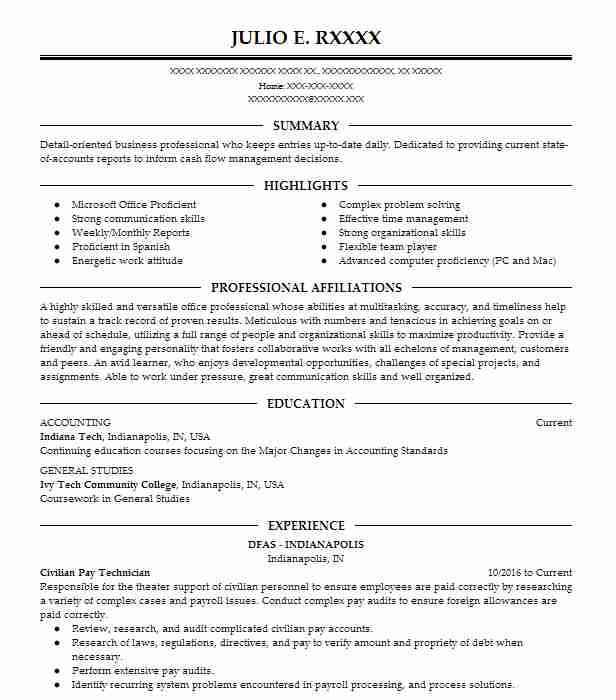 civilian pay technician resume example dfas cleveland