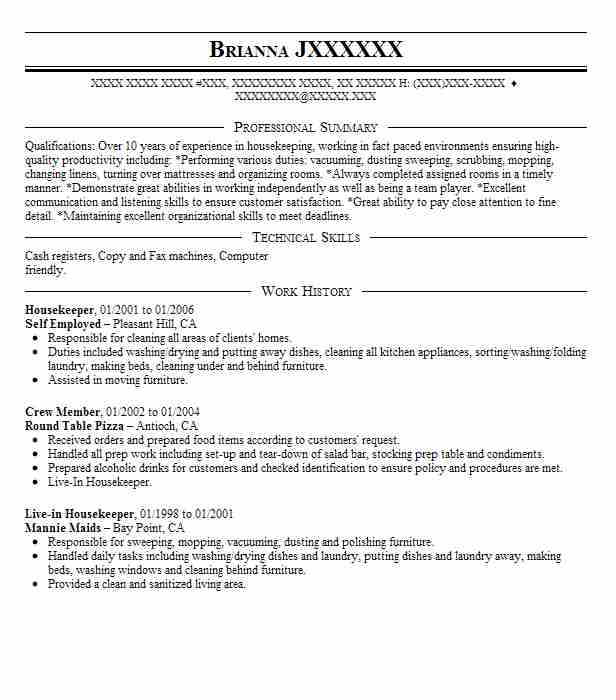 Housekeeper Self Employed Resume Example Clean Queen