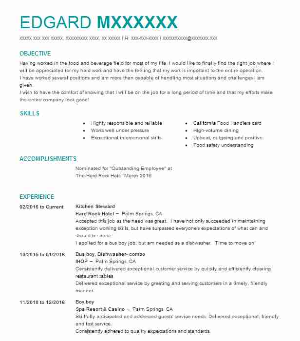 Kitchen Steward Resume Sample | Steward Resumes | LiveCareer