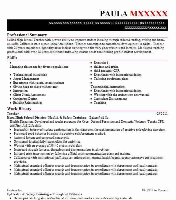 additional coursework on resume 2013