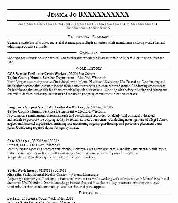 Ccs Service Facilitator Crisis Worker Resume Example Taylor County
