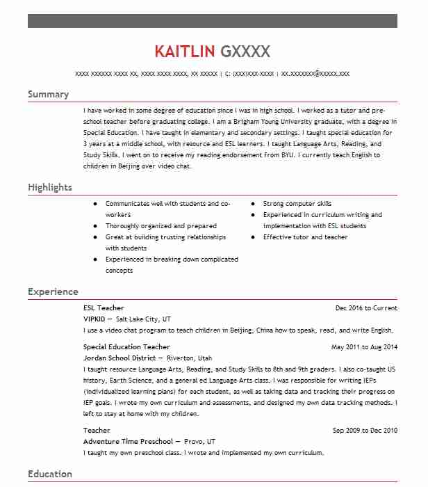 esl teacher resume sample