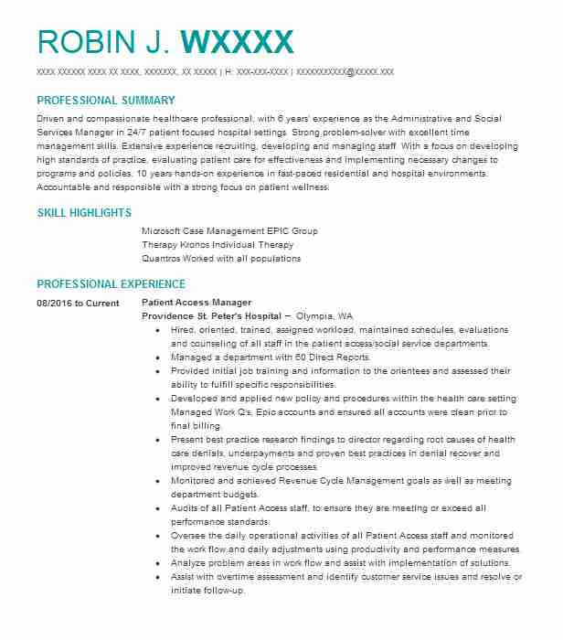Patient Access Manager Resume Example Aurora Health Care