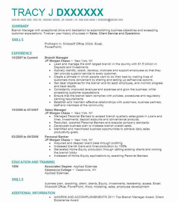 best branch manager resume example