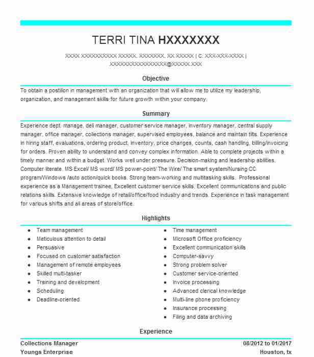 collections manager resume sample