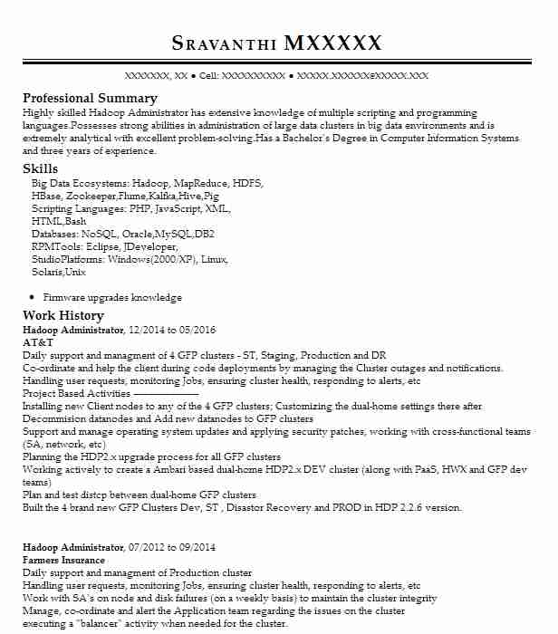 Hadoop Administrator Resume Sample