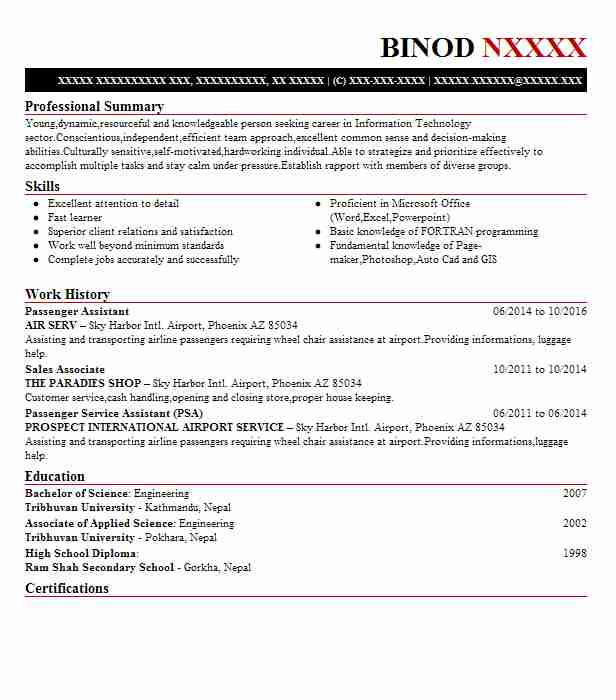 passenger services officer resume example menzies aviation