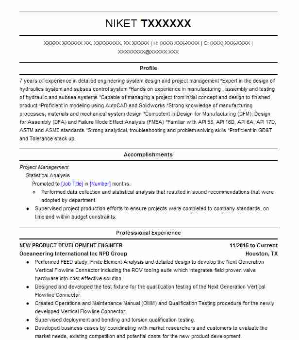 NEW PRODUCT DEVELOPMENT ENGINEER Resume Example Oceaneering ...