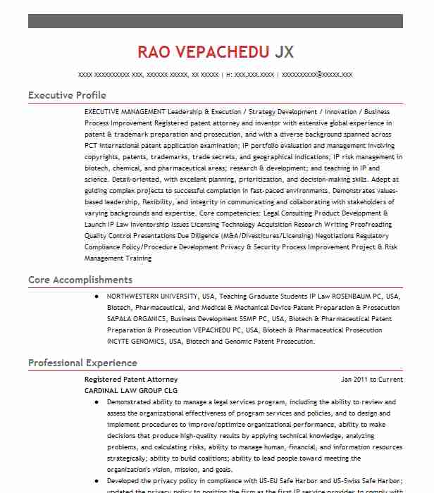 registered patent agent resume example ruichengxingye intellectual property agency office