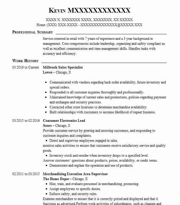 millwork specialist resume example the home depot