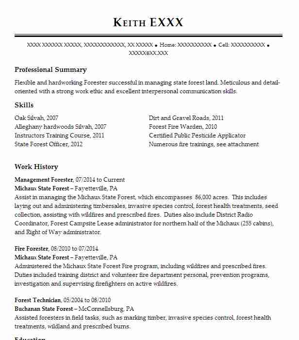 77 Forestry Resume Examples in Pennsylvania | LiveCareer