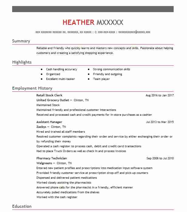 Retail Stock Clerk Resume Sample | Clerk Resumes | LiveCareer
