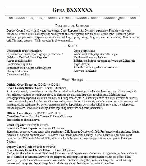 top court reporting resume - Court Reporter Resume Samples