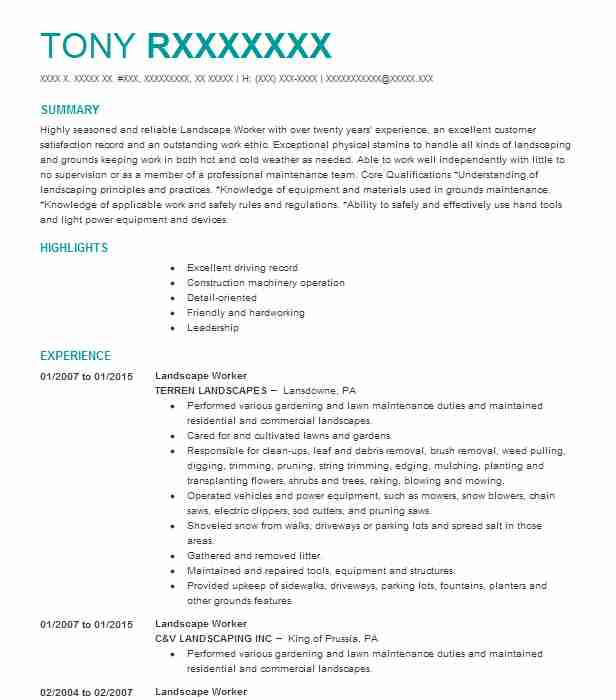 Landscape Worker Resume Sample | Worker Resumes | LiveCareer