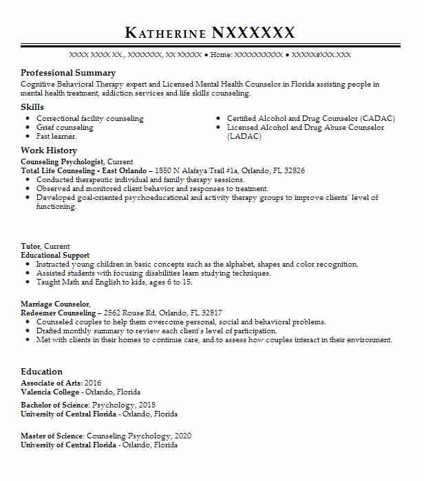 counseling psychologist resume example va medical center