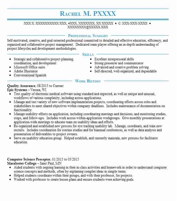 best quality assurance resume example