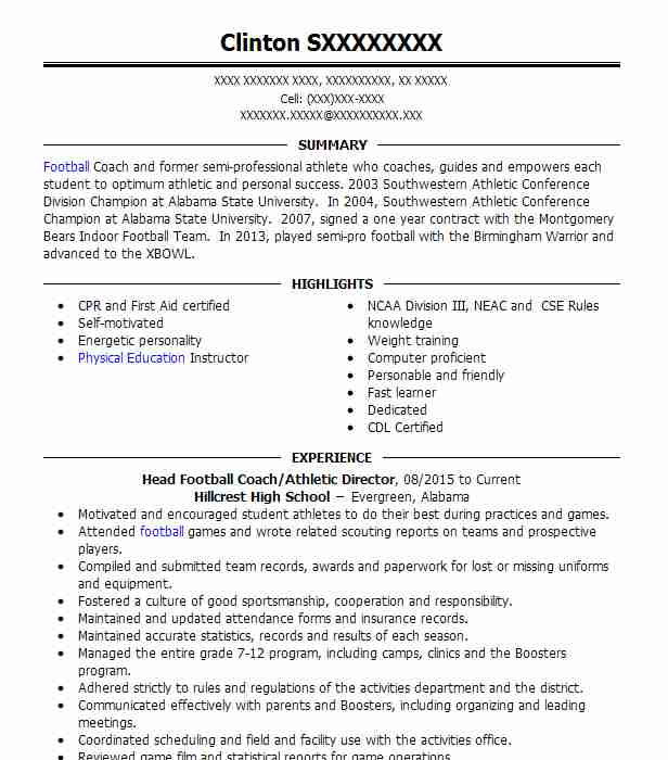 Head Football Coachathletic Director Resume Example Hillcrest High