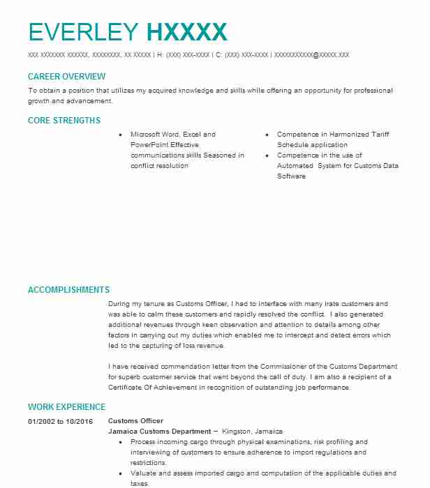customs officer resume sample