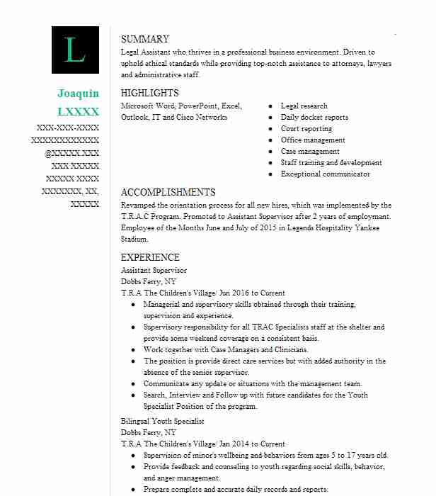 assistant supervisor - Court Reporter Resume Samples