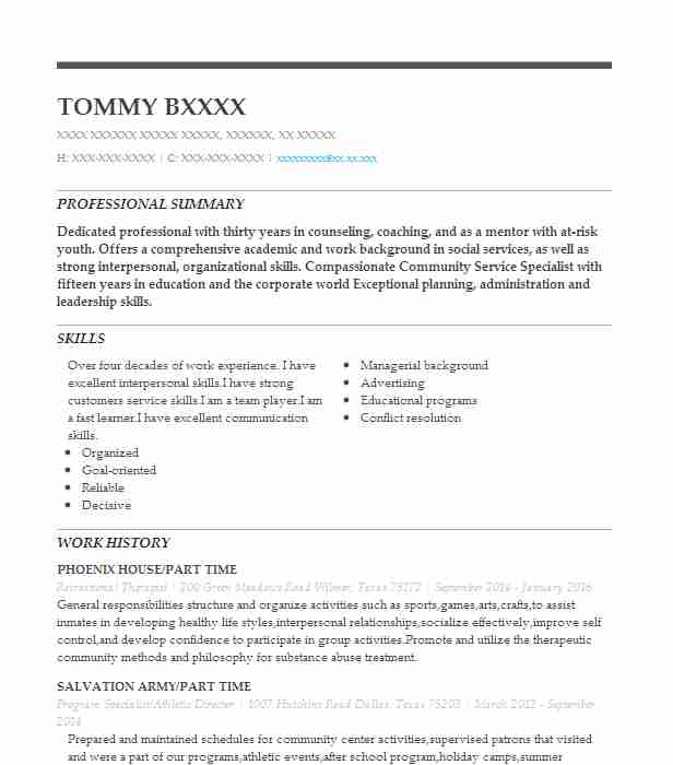 Recreational Therapist Resume Sample | Therapist Resumes ...