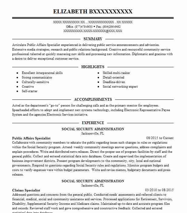 best public affairs specialist resume example