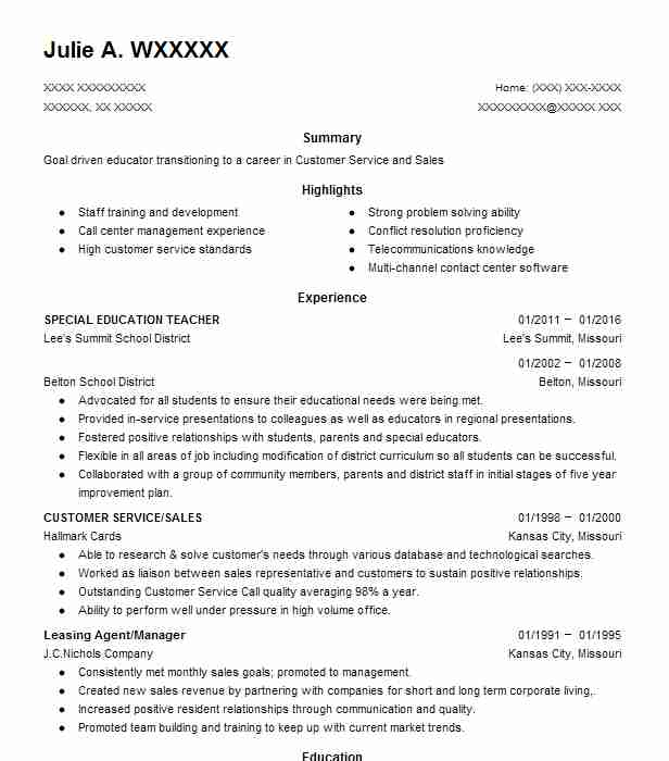 find resume examples in belton  mo