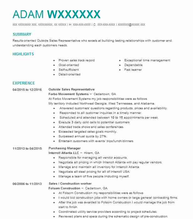 Representative Resume Samples. Outside Sales Representative