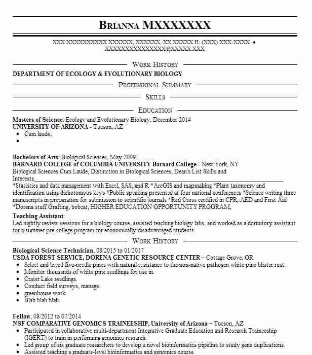 Biological Science Technician Resume Example Livecareer