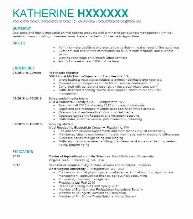 6695 Farming Resume Examples | Natural Resources And Agriculture ...
