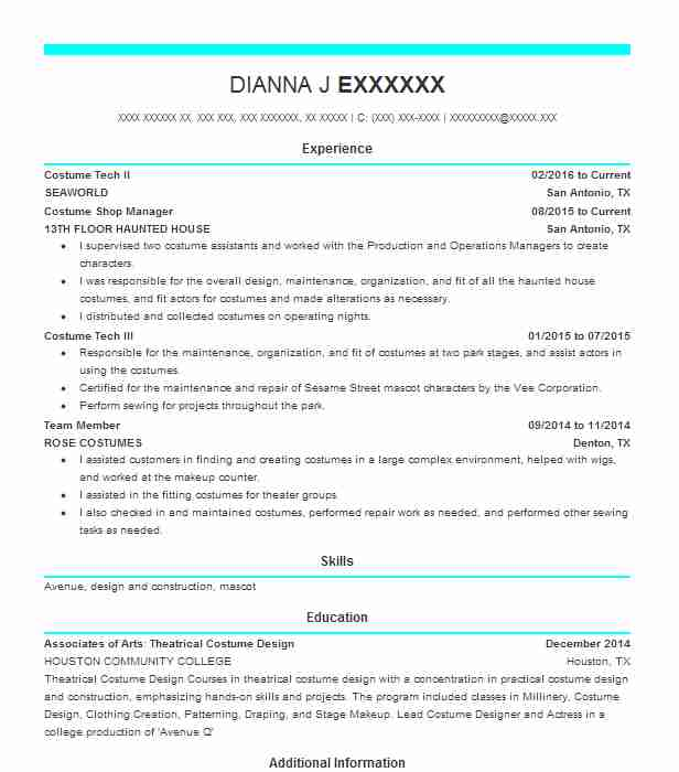 40 Costume Design (Art, Fashion And Design) Resume Examples in Texas ...