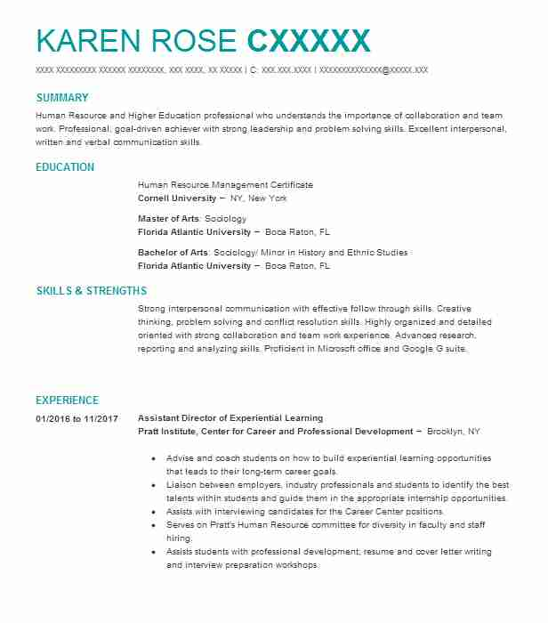 Assistant Director Of Experiential Learning  Registrar Resume