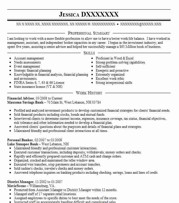 Bank Of The West Wire Transfer | Financial Advisor Resume Example Mascoma Savings Bank West