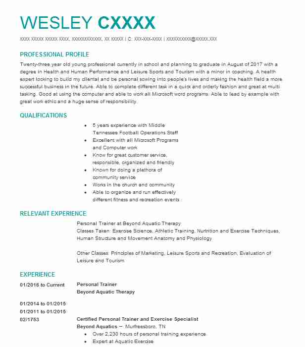 Personal Trainer Resume Example (Beyond Aquatic Therapy ...