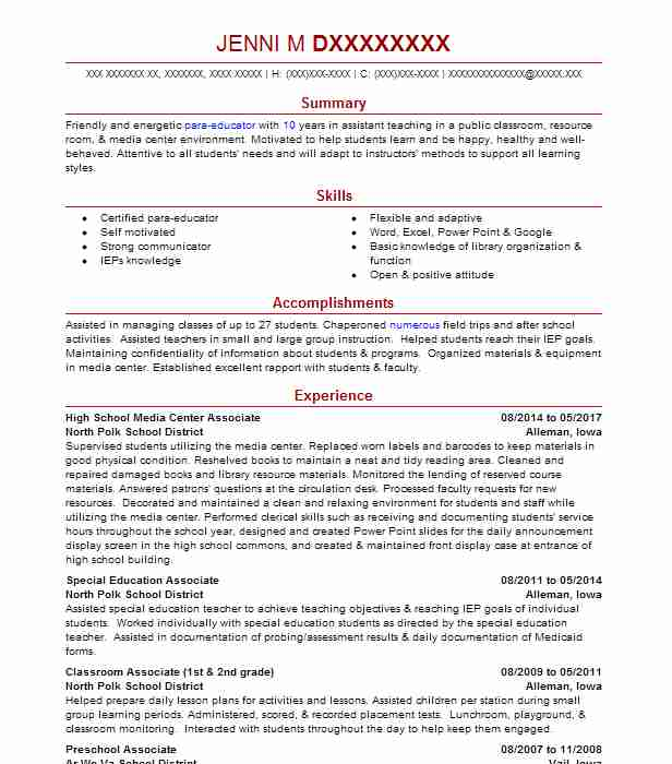 72 Continuing Education Resume Examples in Iowa | LiveCareer