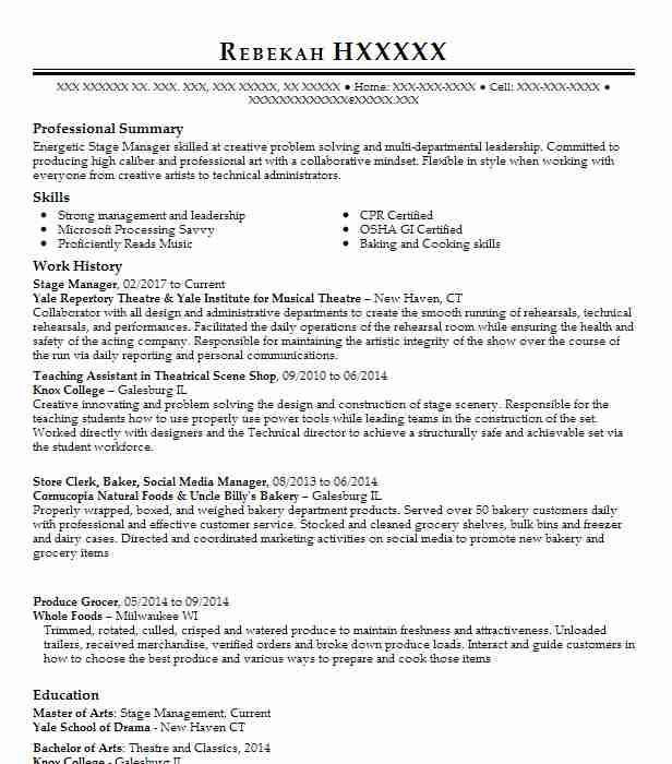 15 Stage Management Resume Examples in Connecticut | LiveCareer