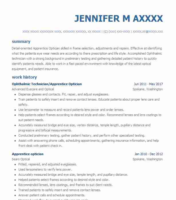 ophthalmic assistant sample resume technician resume example 11