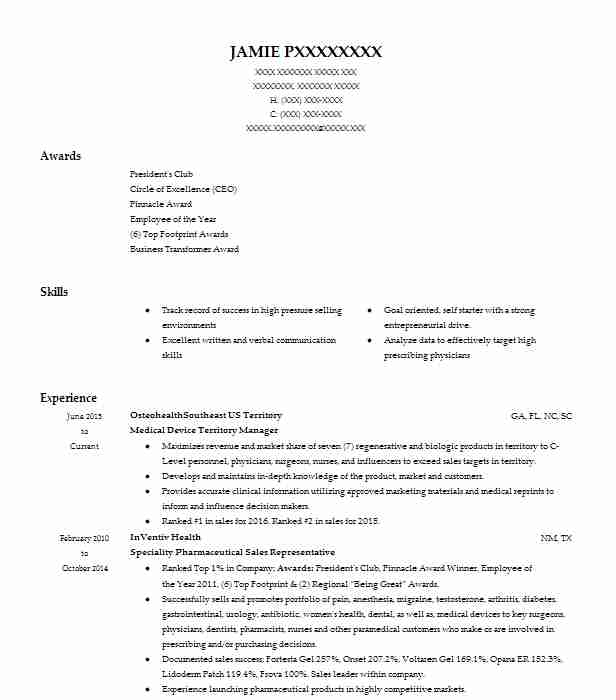 Medical Device Territory Manager Resume Example BG Medical