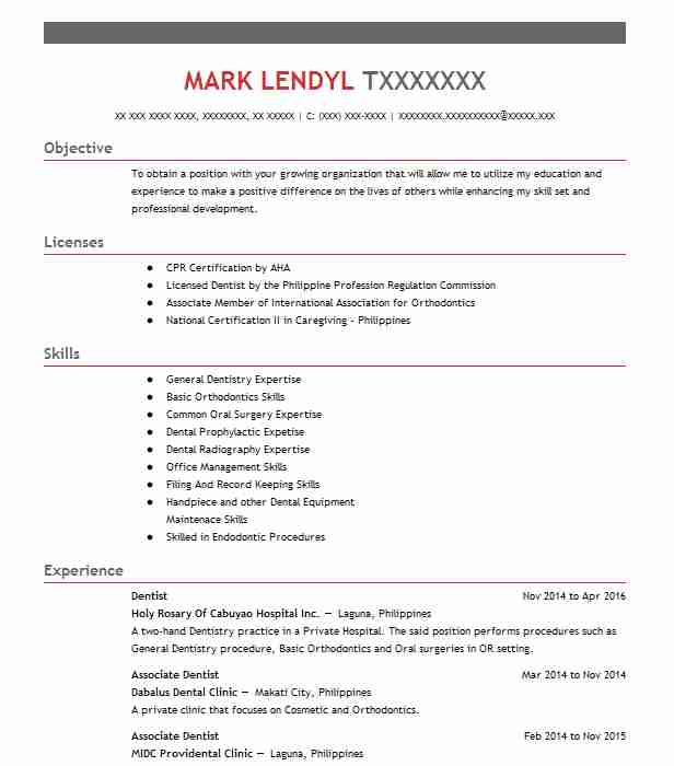 Dentist Resume Sample | Dental Resumes | LiveCareer