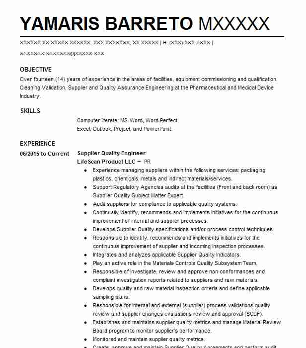 Supplier Quality Engineer Resume Sample Livecareer