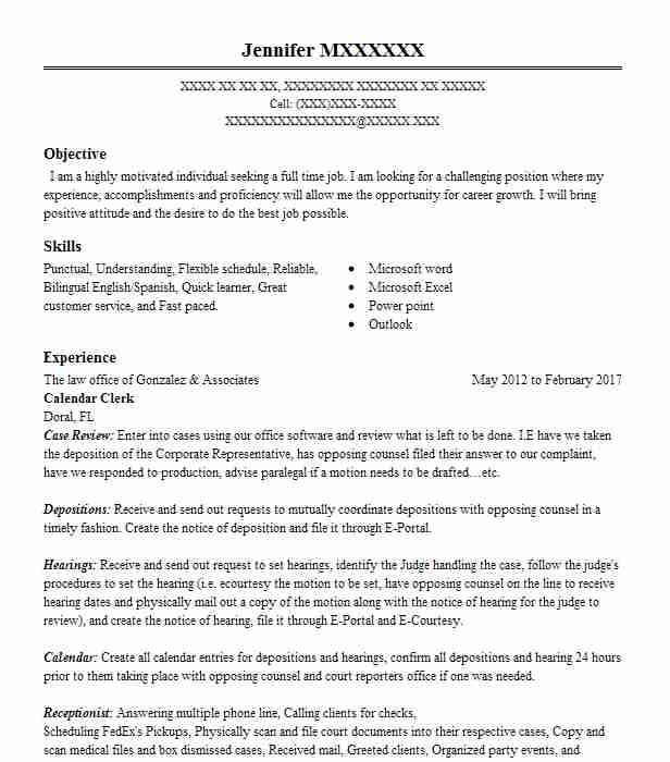 legal assistant  calendar clerk resume example callan