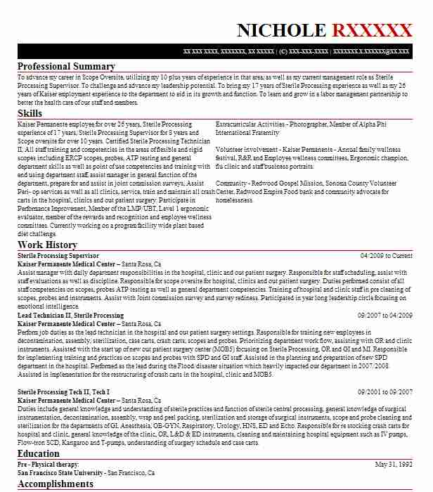 Sterile Processing Supervisor Resume Example Mountain
