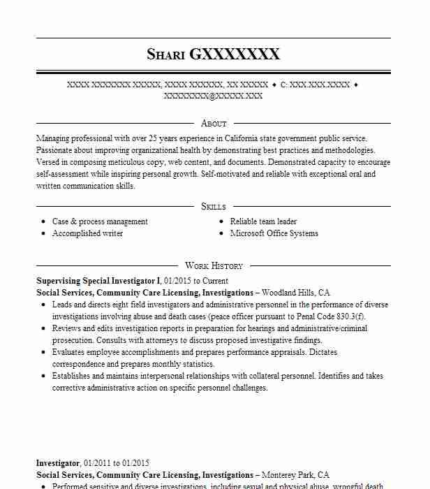 senior special investigator resume example great american