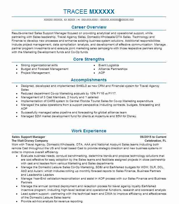 sales support manager resume example the walt disney company