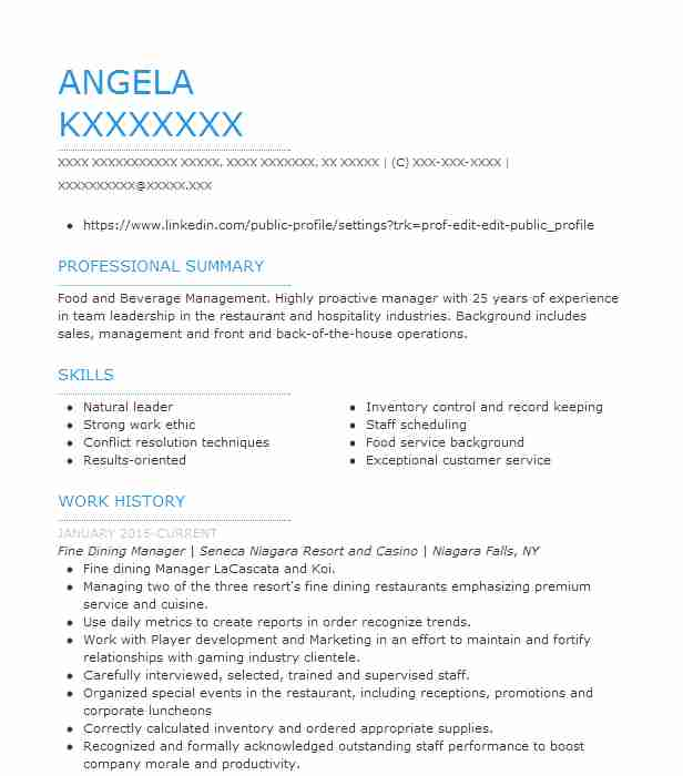 fine dining restaurant manager resume example 350 grill steak house