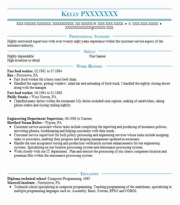 fast food worker resume sample