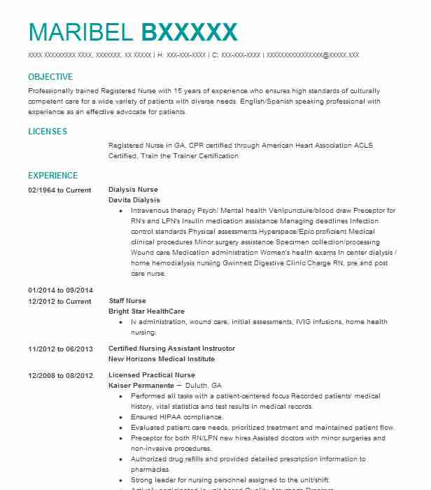 Dialysis Nurse Resume Sample Nursing Resumes Livecareer
